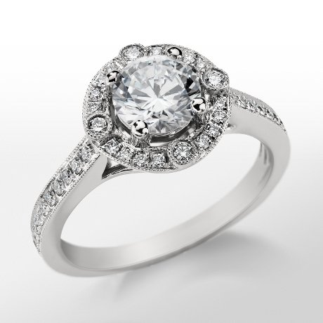 Monique Lhuillier Milgrain Halo Engagement Ring_$1900