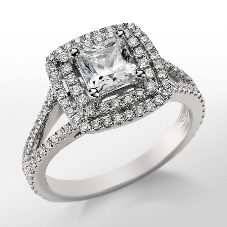 Monique Lhuillier Princess Double Halo Engagement Ring_$3200